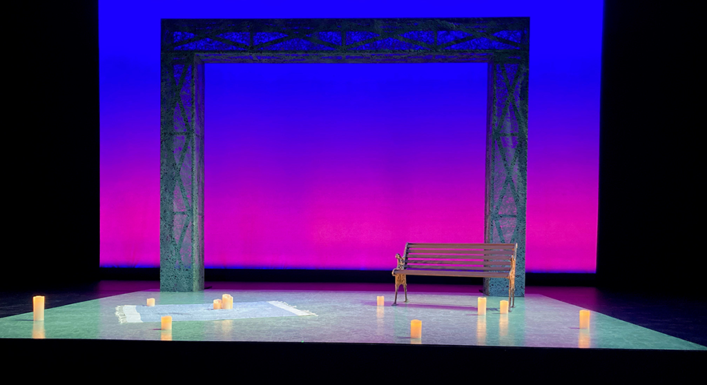 Setting Lighting Levels during an onstage rehearsal for Stealing Sam in the Martha Cohen Theatre. Set/Props Design by Hanne Loosen. Lighting Design by Scott Reid.
